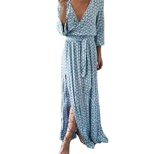 27a3ec9e825120 Kleider Damen Dasongff Damen Strandkleid Elegant Langarm V-Ausschnitt  Maxikleid Gedruckt Lange Abendkleid Sommerkleid Kleider mit Gürtel L, Blau