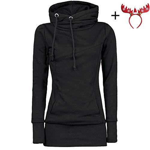 9cd079dbc4cf51 Hoodie Sweatshirt Dasongff Damen Frauen Kapuzenpullover mit Hohem Kragen  Feste Sweatshirt Pullover Tops Slim Fit PulloverKleid