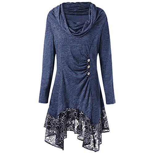 889d90c1fccd78 Btruely Pullover Damen Winter Herbst Spitze Langarmshirt Groß Größe Sweatshirt  Frauen Oberteile Loose Fit T-Shirt Lange Unregelmäßiges Minikleid